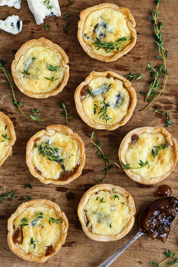 Blue Cheese and Onion Jam Quiche Tarts
