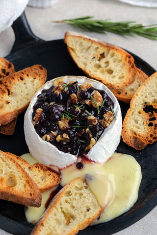 Baked Brie with Wild Blueberry Maple Compote, Walnuts and Rosemary