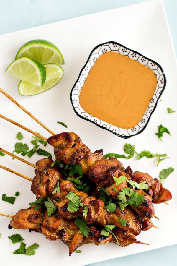 Chicken Satay with Cambodian Coconut Peanut Sauce