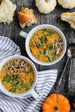 Coconut Peanut Butternut Squash Soup with Lentils and Wild Rice