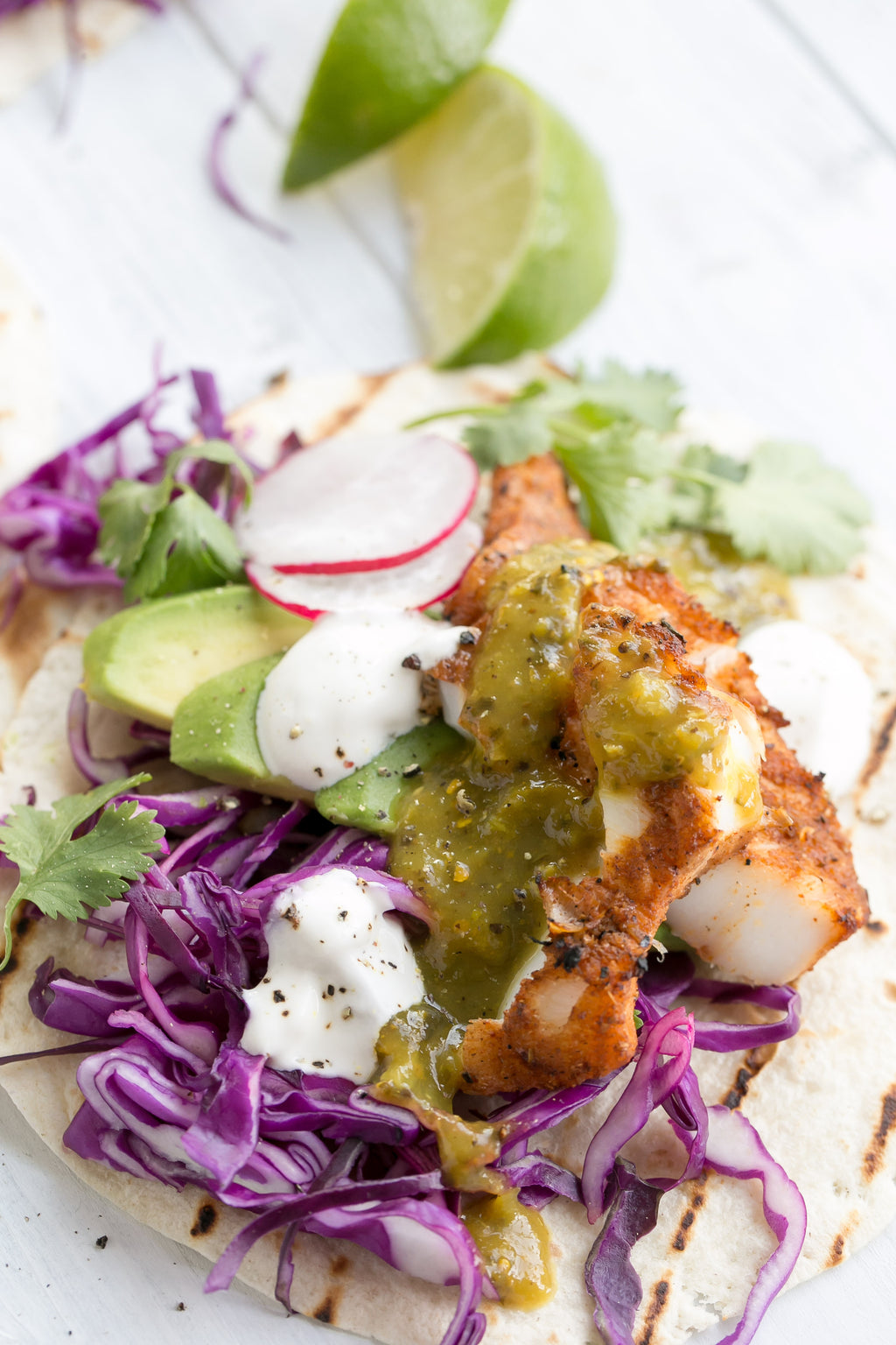 Grilled Fish Tacos with Salsa Verde