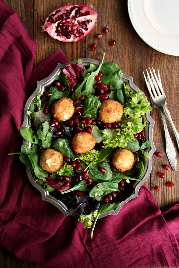Fried Goats Cheese Salad with Cranberry Vinegar
