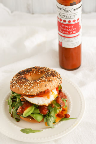 Ham Egg Avocado Bagel with Spicy Tomato Kasundi Sauce