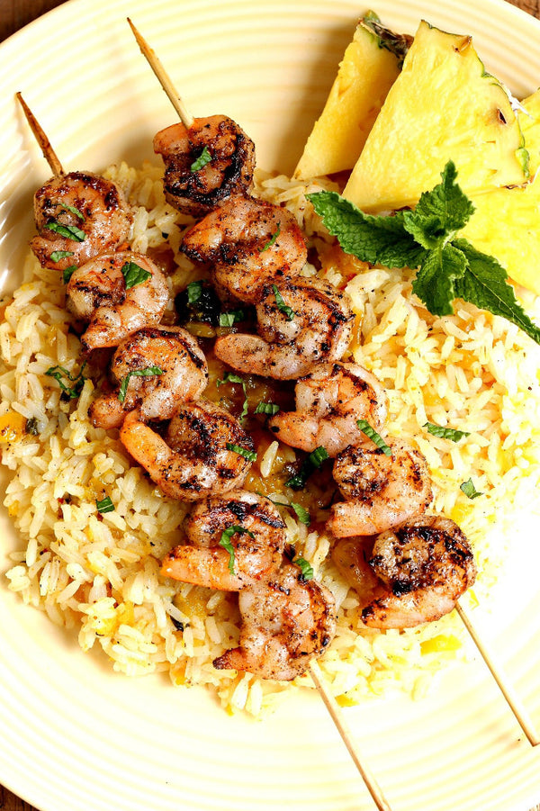 Jerk Shrimp Skewers with Pineapple Rice | Wozz! Kitchen Creations