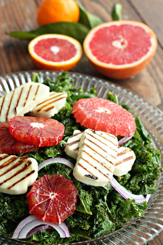 Kale Citrus Salad with Grilled Halloumi and Spiced Beet Vinegar