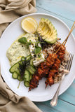Kasundi Chicken Skewers with Moroccan Rice, Marinated Feta and Tzatziki