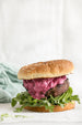 Lamb Burgers with Beet Yogurt Sauce