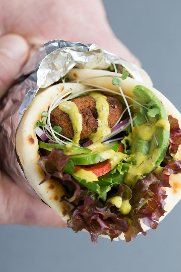 Falafel Gyros with Lemon Green Tahini Sauce