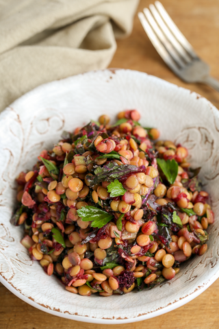 Lentil Salad with Kale, Herbs and Pickled Beet Vinaigrette