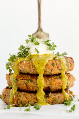 Salmon Potato Cakes with Lemon Dill Tahini Sauce