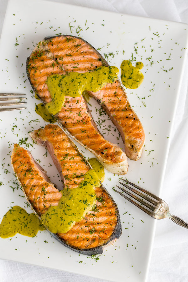 Salmon Steaks with Lemon Greeen Tahini Sauce