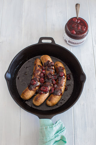 Sausage with Cherry Balsamic Sauce | Wozz! Kitchen Creations