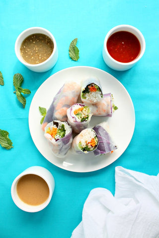 Shrimp Rice Paper Rolls with 3 Dipping Sauces