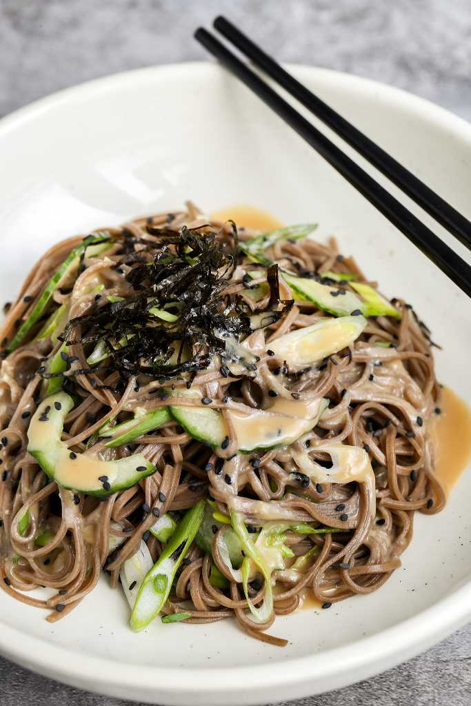 Soba Noodle Salad with Japanese Sesame Miso Dressing