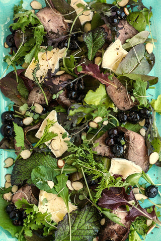 Steak Salad with Brie and Balsamic Blueberries