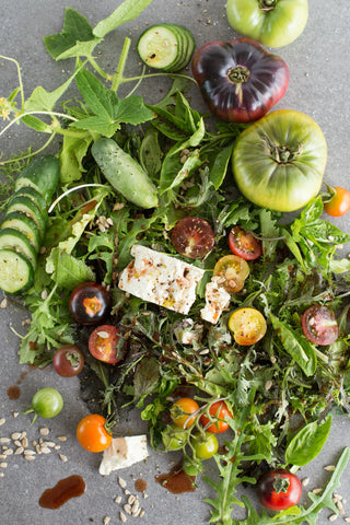 Tomato Feta Salad with Spiced Beet Vinegar