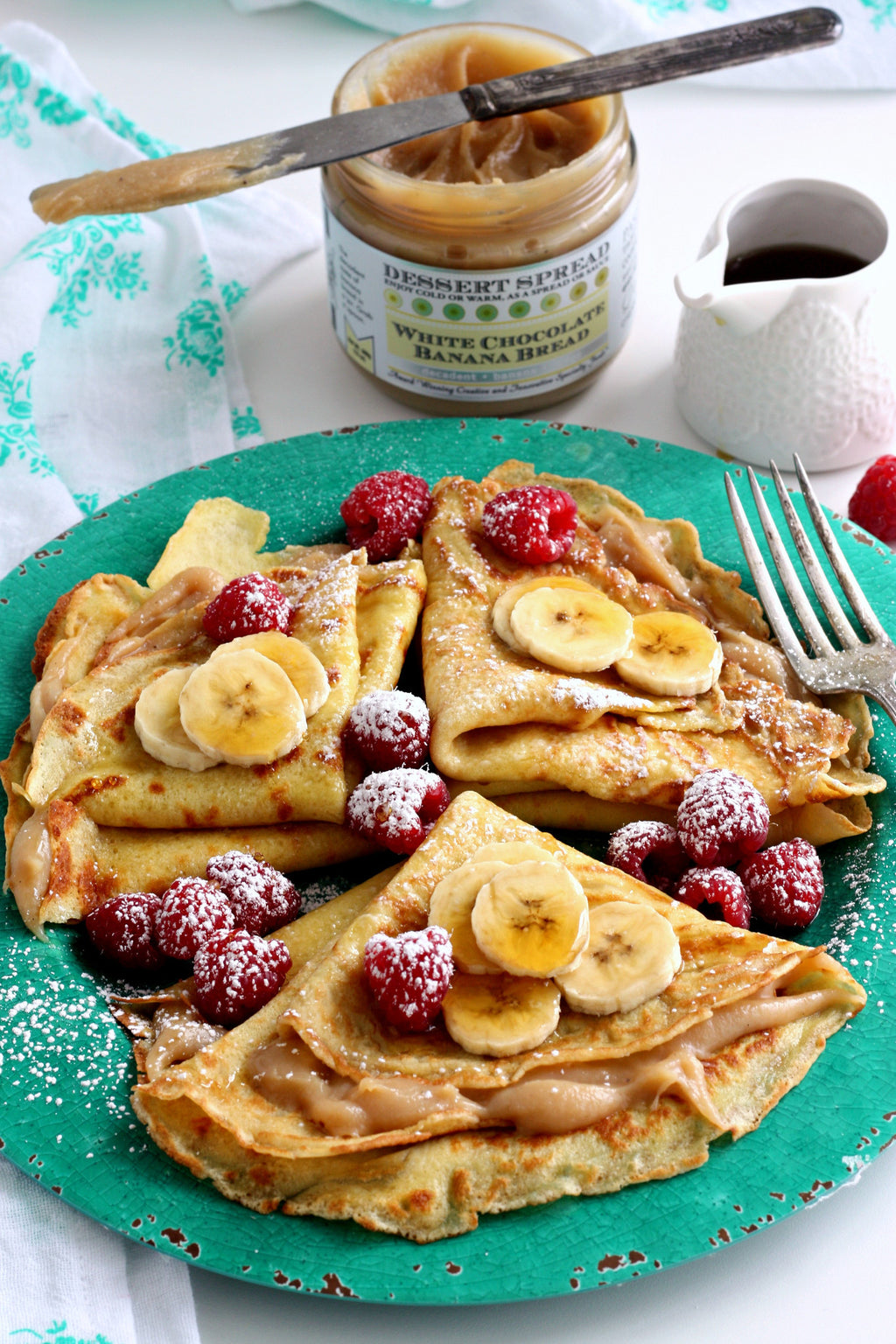 Crepes with White Chocolate Banana Bread Dessert Spread