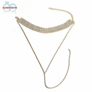 Tassel Multilayer Crystal Rhinestone Necklace