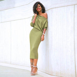 One Shoulder Batwing Long Sleeve Dress