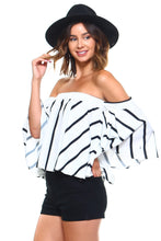 Load image into Gallery viewer, Chic Vertical Striped Off Shoulder Blouse