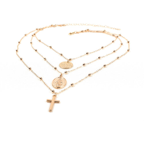 Multi Layer Golden chain cross necklace
