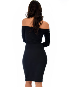 Bold Move Off The Shoulder Bodycon Midi Dress