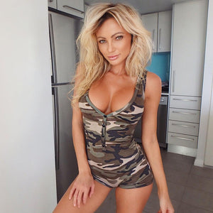 Sexy Women Camouflage Sleeveless Playsuit