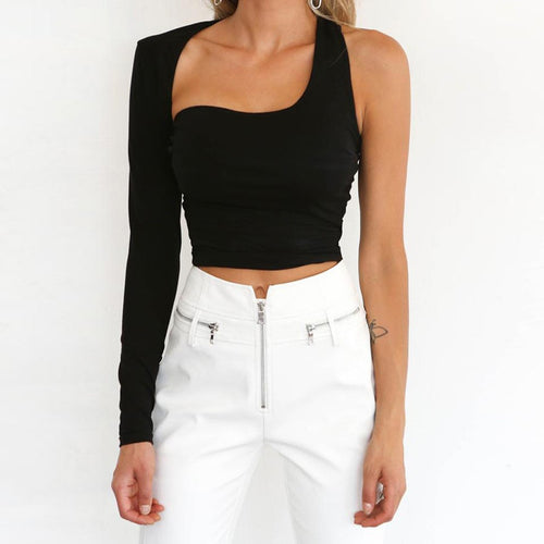 Sexy Black One Shoulder Hollow Out Short Backing Top