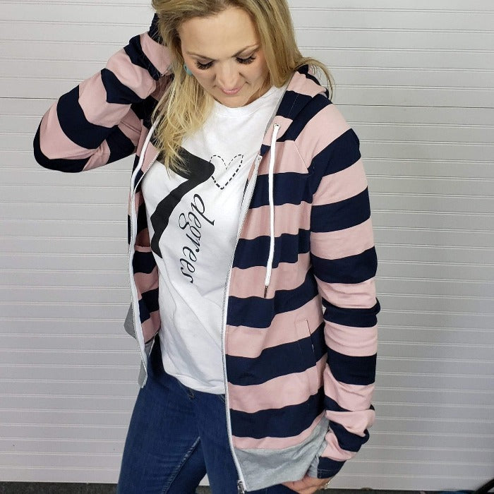 Toula Love - Shop7degrees pink and navy full zip hoodie