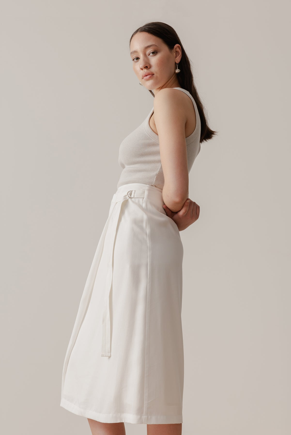 Tidal Wrap Skirt - Cloud - LOCLAIRE