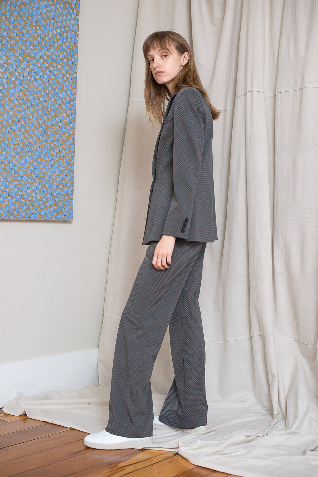 Slanted Pant - Charcoal Check - LOCLAIRE