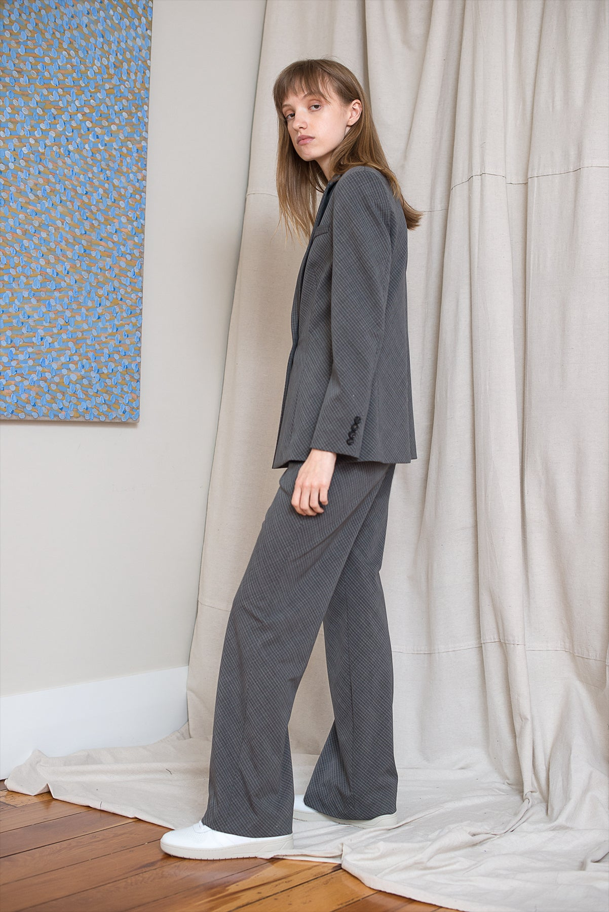 Slanted Blazer - Charcoal Check - LOCLAIRE