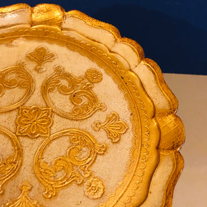 The Tattooist Ava - Cream and Gold Small Papier Mache Tray