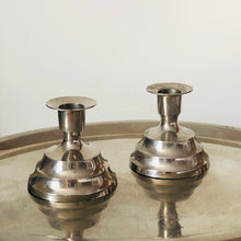 Load image into Gallery viewer, Vintage Pair of Religious Last Rites Silver Candlesticks