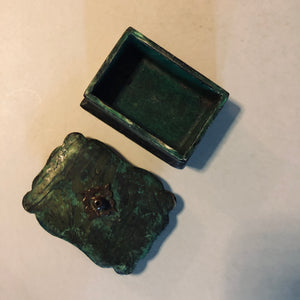 Antique Paper Mache Green Lacquer Box