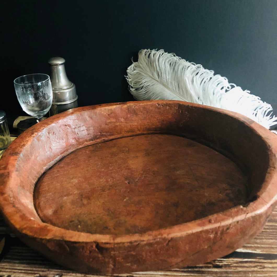 Large Antique Wooden Bowl