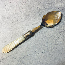Load image into Gallery viewer, Antique Silver Jam Spoon with Twisted Mother Of Pearl Handle