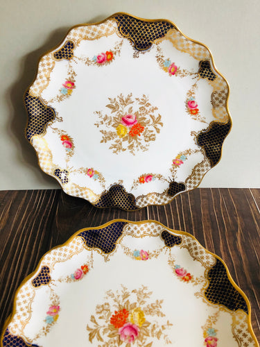 Navy White & Gold Wedgwood Porcelain Cake Plate
