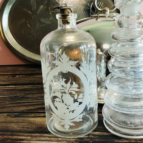Vintage Decanter Bottles Etched Floral design Refill For Sustainable Living