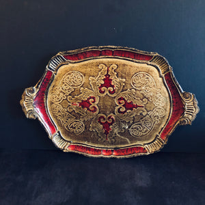 The Tattooist Ida - Red and Gold Florentine Tray