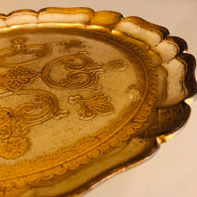 Load image into Gallery viewer, Gold Small Papier Mache Florentine Tray
