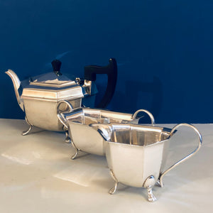 Antique Silver Plate Teapot Sugar Bowl and Creamer lions footed