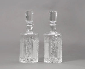 The Artist Charlotte - Pair of Vintage Crystal Cut Decanters