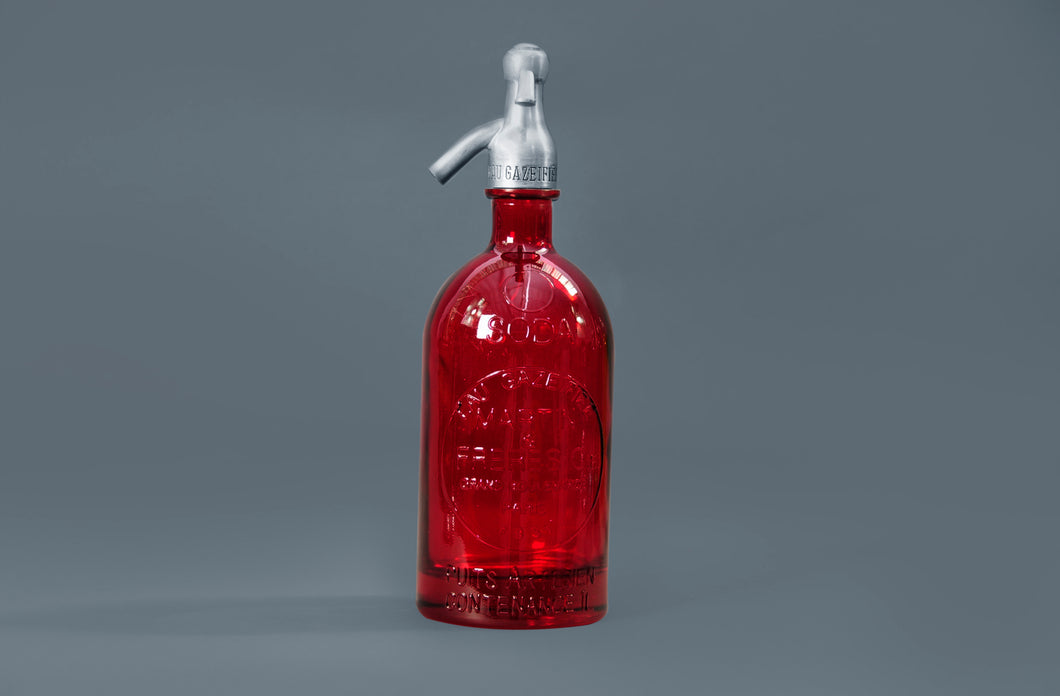 The Artist Lewis - French Red Glass Soda Syphon Seltzer Bottle