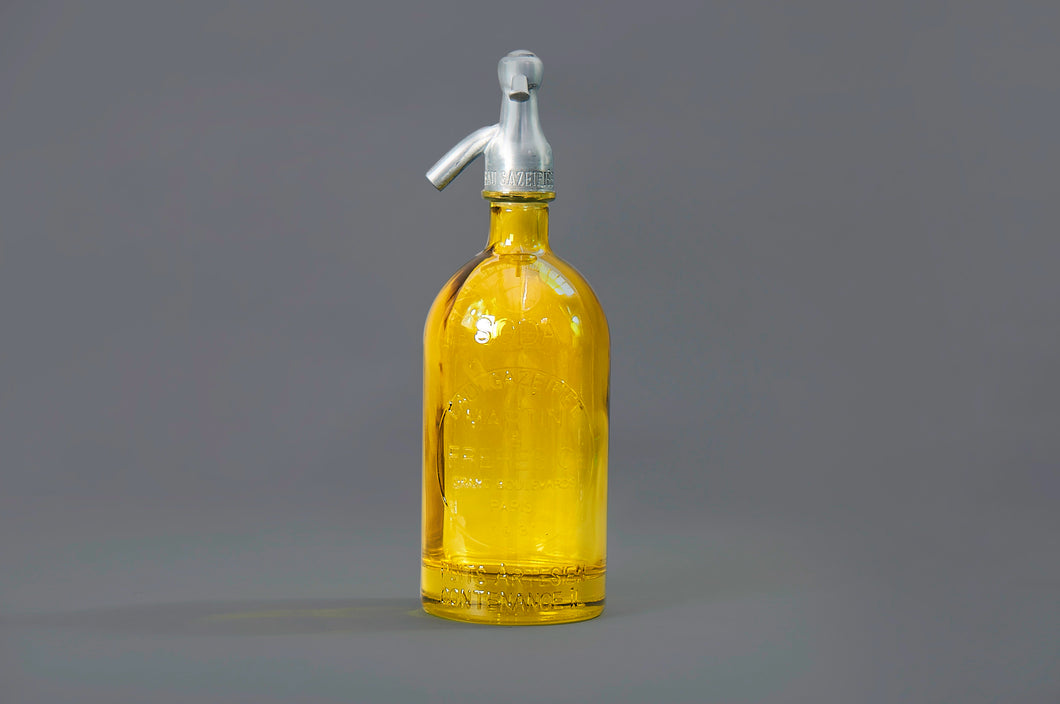 The Artist Lewis - French Yellow Glass Soda Syphon Seltzer Bottle