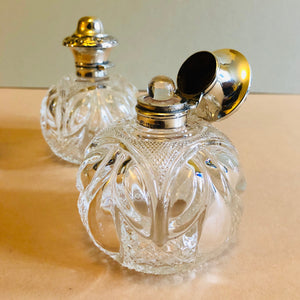 The Artist Peyton - Pair of Antique Silver Topped Perfume Bottles