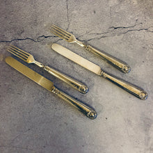 Load image into Gallery viewer, The Headhunter Scott - Antique Silver Table Knife & Fork Duo