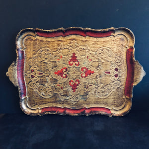 The Tattooist Ash - Large Red and Gold Florentine Tray