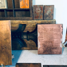 Load image into Gallery viewer, The Director Estelle - Vintage Wood Mounted Etched Copper Printing Plate