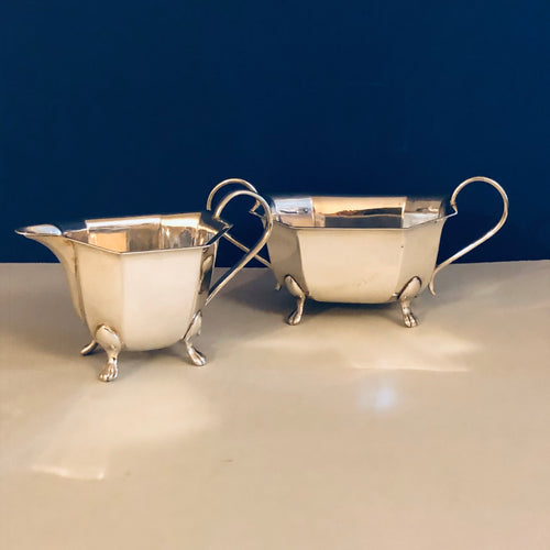 Antique Silver Plate Sugar Bowl and Creamer lions footed